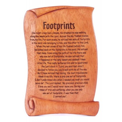 Mahogany Wall Hanging or Plaque: Footprints