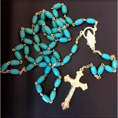 Rosary:Plastic Blue bead Silver chain