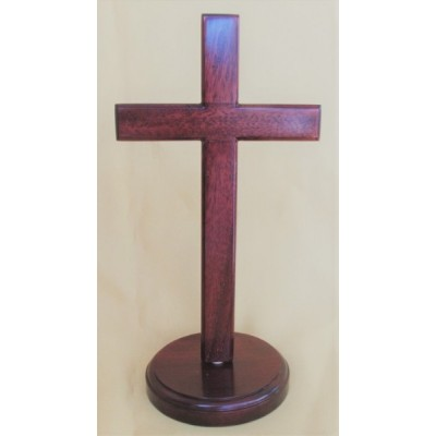 Mahogany Cross  on Round Stand 20cm