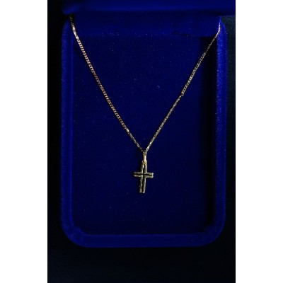Gold Cross small inlaid with black cross & chain