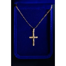 Crucifix Gold round ends 25mm with 290mm chain