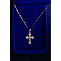 Gold Crucifix fluted ends with gold chain