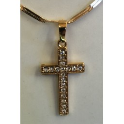 Gold Cross with stones & twisted flat-linked chain