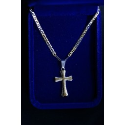 Cross Silver inlaid with Gold cross & chain