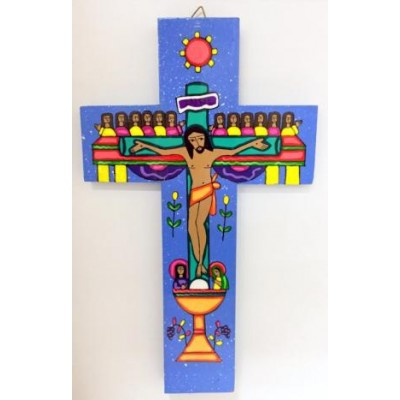 Cross: Wood, Last Supper Blue. Made El Salvador