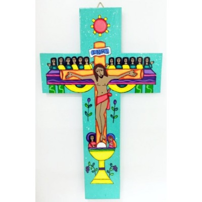 Cross: Wood - Last Supper Green. Made El Salvador