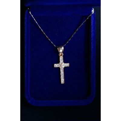 Gold Cross Stones & Motif in Centre and Chain