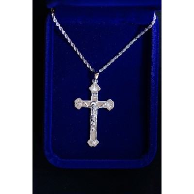 Crucifix Silver w scalloped ends & silver chain