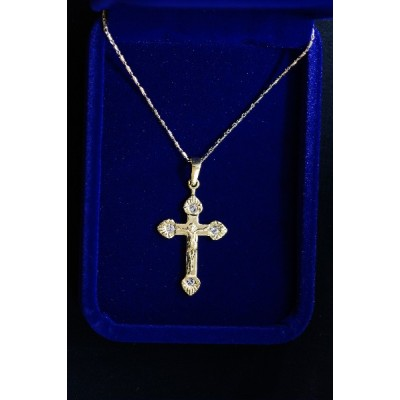 Crucifix Gold fluted ends with stones and chain