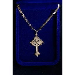 Gold Rose Cross Coptic design with gold plated chain