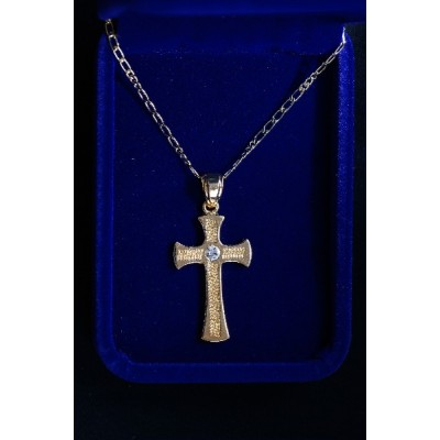 Gold patterned Cross, centre Jewel and chain