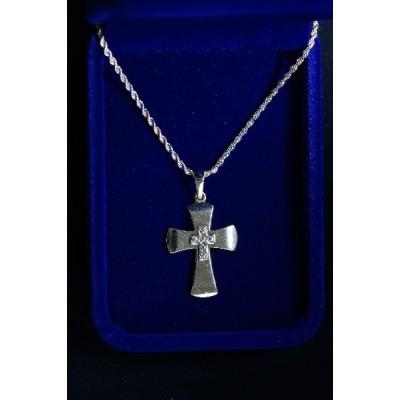Gold Cross w Jewel overlaid Cross and chain