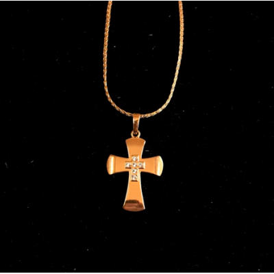 Gold Cross w Jewel overlaid Cross and chain