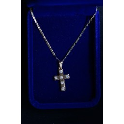 Cross Gold inlaid  with 6 stones and chain