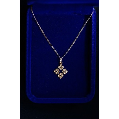 Rose Gold Jerusalem Cross w Chain small
