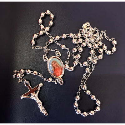 Rosary Necklace Silver plated small bead Assorted Images