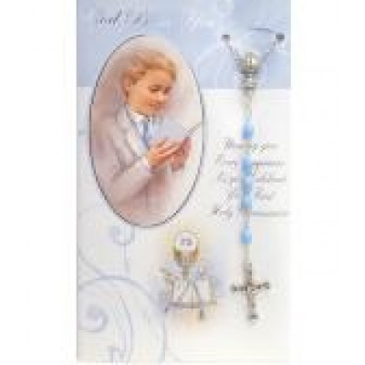 First Holy Communion with Blue Rosary
