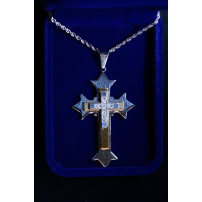 Silver Cross overlaid w Gold & silver cross with stones, ch