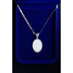 Our Lady of Guadalupe Silver medallion silver chain