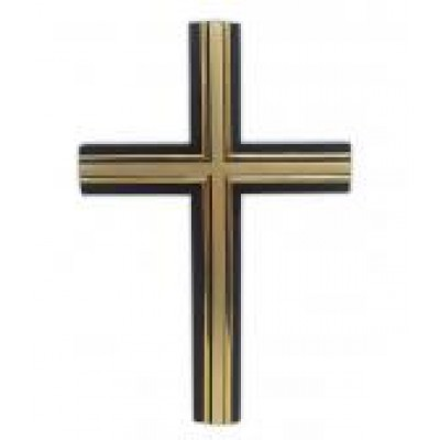 Wood Cross Large Black & Gold 33 x 18cm