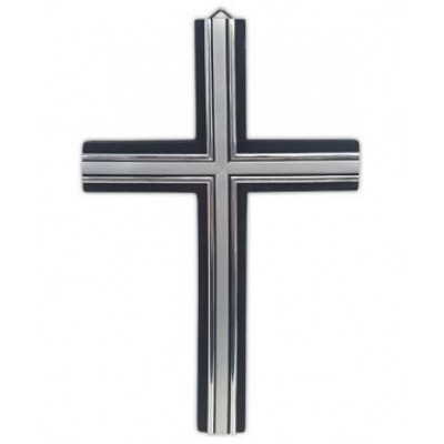 Wooden Cross Small Black & Silver 20 x 13cm
