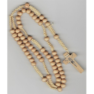 Rosary Light Brown Wood Large beads on Cord