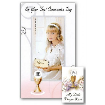 CARD: First Holy Communion Girl with Prayer Book