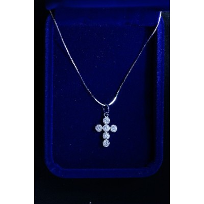 Silver circles Cross inlaid with round stones & chain