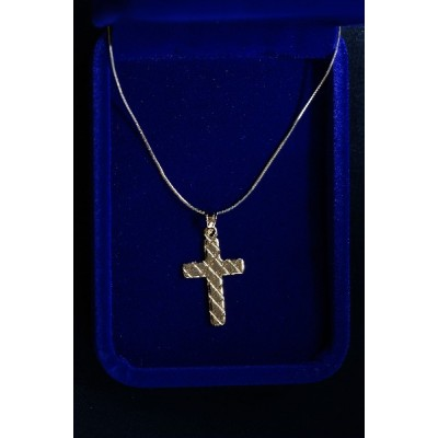 Gold Cross, diagonal crossed lines and chain