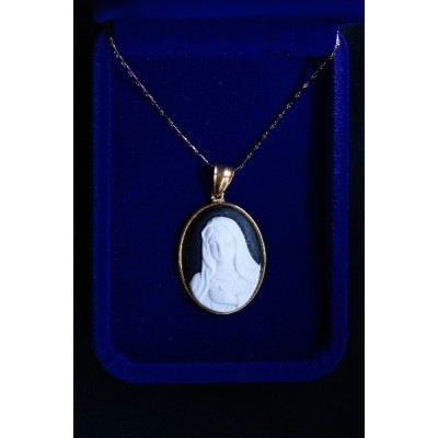 Cameo Our Lady white image on black Gold frame & Chain
