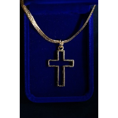 Gold Outline Cross (Heavy) with thick Chain