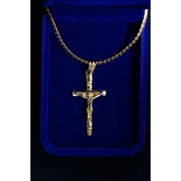Gold plated Crucifix 4cm, Thick chain