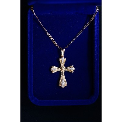 Rose gold patterned Cross, diamond studded and Chain