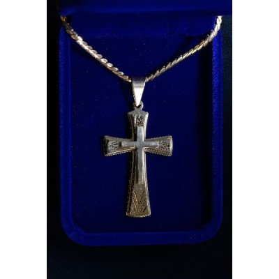 Cross 6cm Silver, layered w 2 gold crosses and Chain