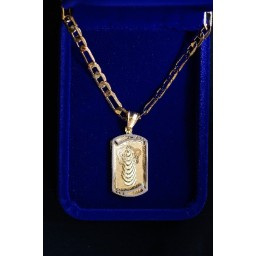 Risen Christ oblong pendant Gold & Silver and chain