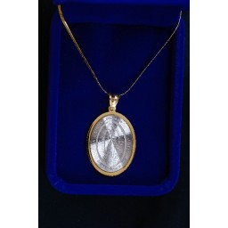 Our Lady of Guadalupe pendant Silver & Gold frame and Chain