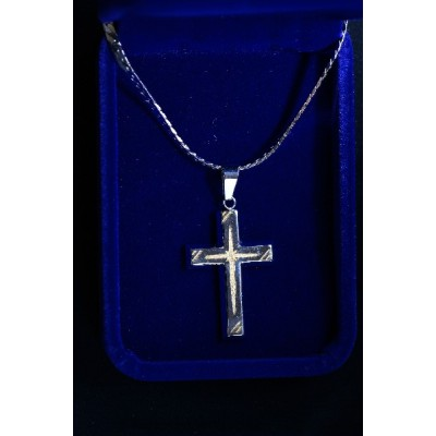 Solid silver plated cross, gold pattern inlaid and chain