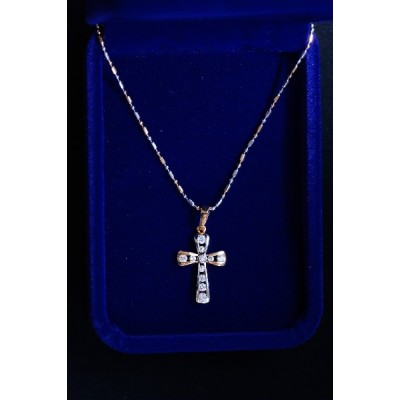 Gold & silver Cross outline w inlaid diamante and chain