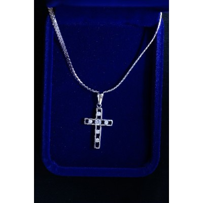 Silver Outline Cross inlaid w 6 diamante on flat Chain