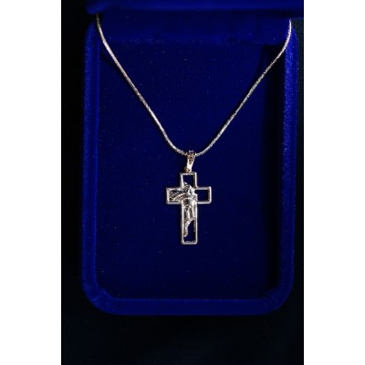 Gold Cross with Face of Jesus on Chain