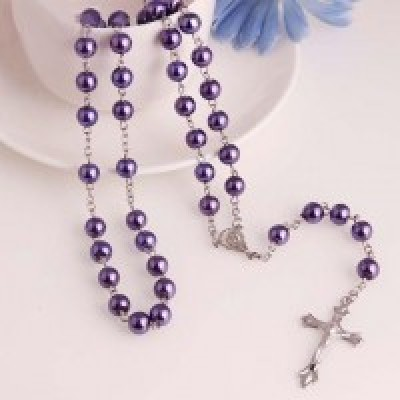Rosary Purple Glass Pearl 8mm
