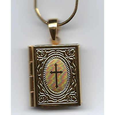 Locket Small gold plated Bible on gold plated chain