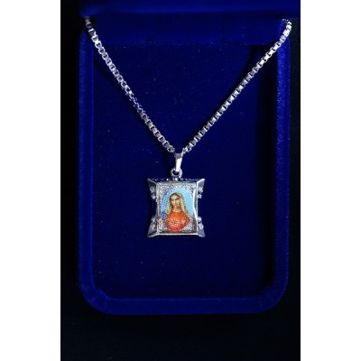 Mary Heart Silver pendant and Chain
