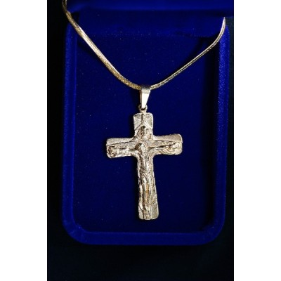 Crucifix Trinity 6cm Gold and Chain