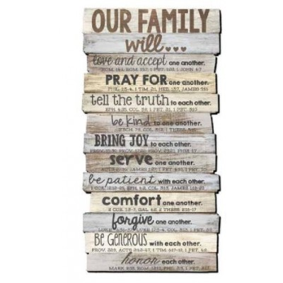 Plaque:Our Family Will Wall/Desktop 5 x 10