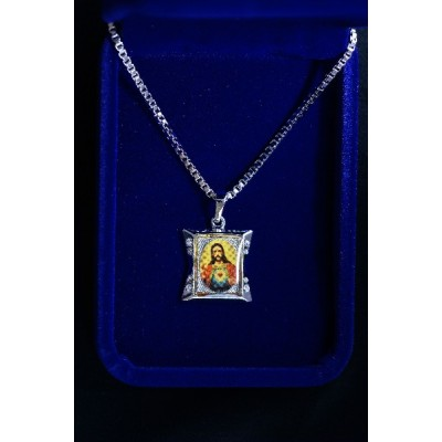 Silver Sacred Heart of Jesus and Chain