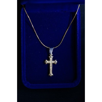 Cross Gold, inlaid stones, nails on ends (smaller cross)