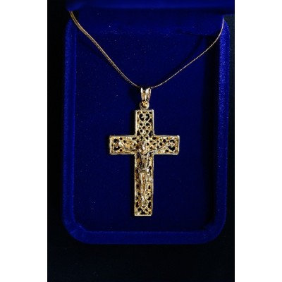 Crucifix Large Gold, Filigree, Square Ends and Chain