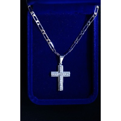 Cross Large Silver, patterned with tiny Stones