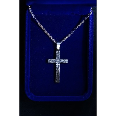 Cross, Black with Our Father (large) and Chain